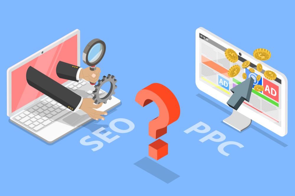 A vector graphic displaying two laptops - one advocating ppc while the other displays seo