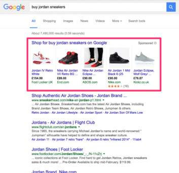 google shopping ads screenshot