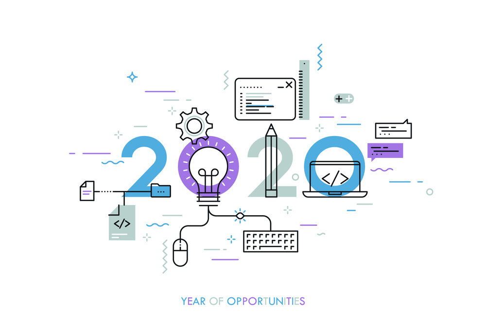 a graphic display the year 2020 with elements of IT-related items linking between it