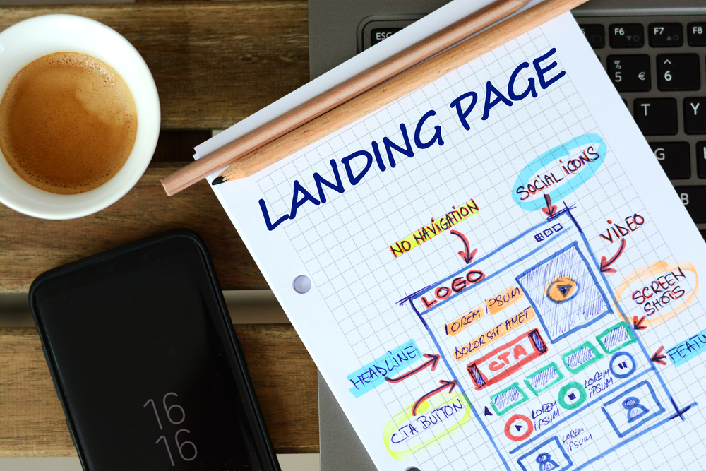 a visual notepad illustration of a landing page with a cup of coffee located above the top right corner