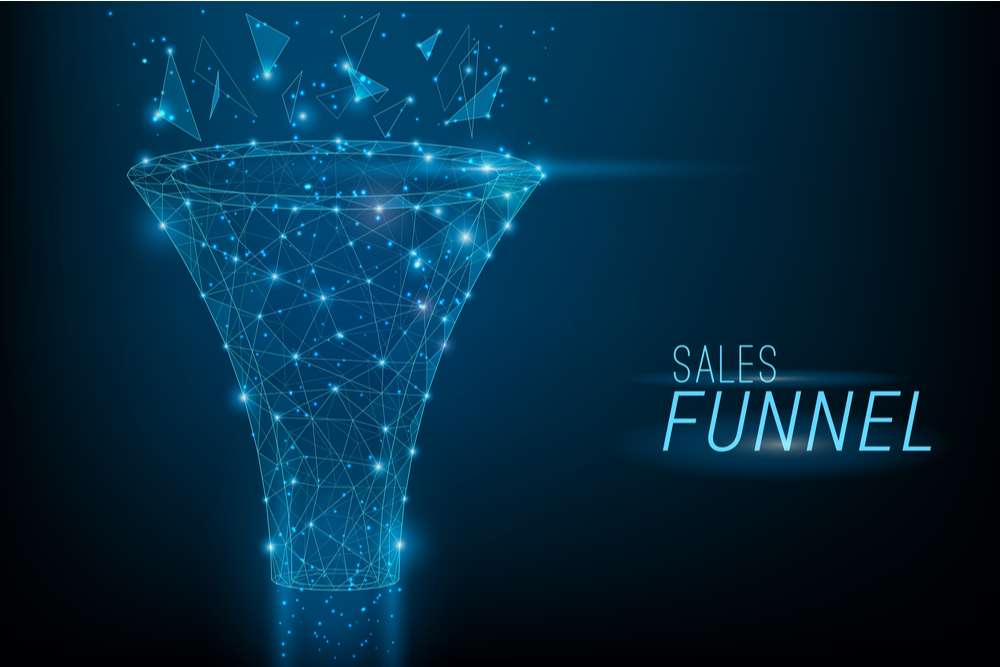 a see through illustration of a sales funnel set against a black background