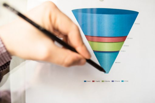 a man pinpointing the bottom of a sales funnel with his pen